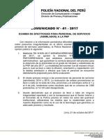 COMUNICADO PNP N° 41 - 2017