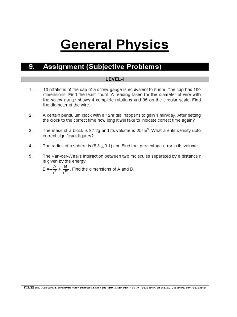 FIITJEE PACKAGE QUESTIONS pdf | Acceleration | Speed