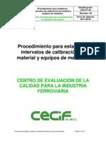 Procedimiento Para Establecer Intervalos de Calibración de Material y Equipos de Medición