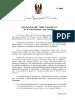 Mensaje de los Obispos para el pueblo colombiano
