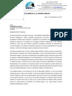Carta Abierta a La Opinion Pública Final