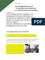 La Inmigración en La Argentina