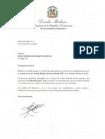 Cartas de felicitación del presidente Danilo Medina a galardonados Premio Brugal Cree en su Gente 2017.