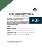 09. Acuse de Recibo de La Politica de Alcohol y Drogas