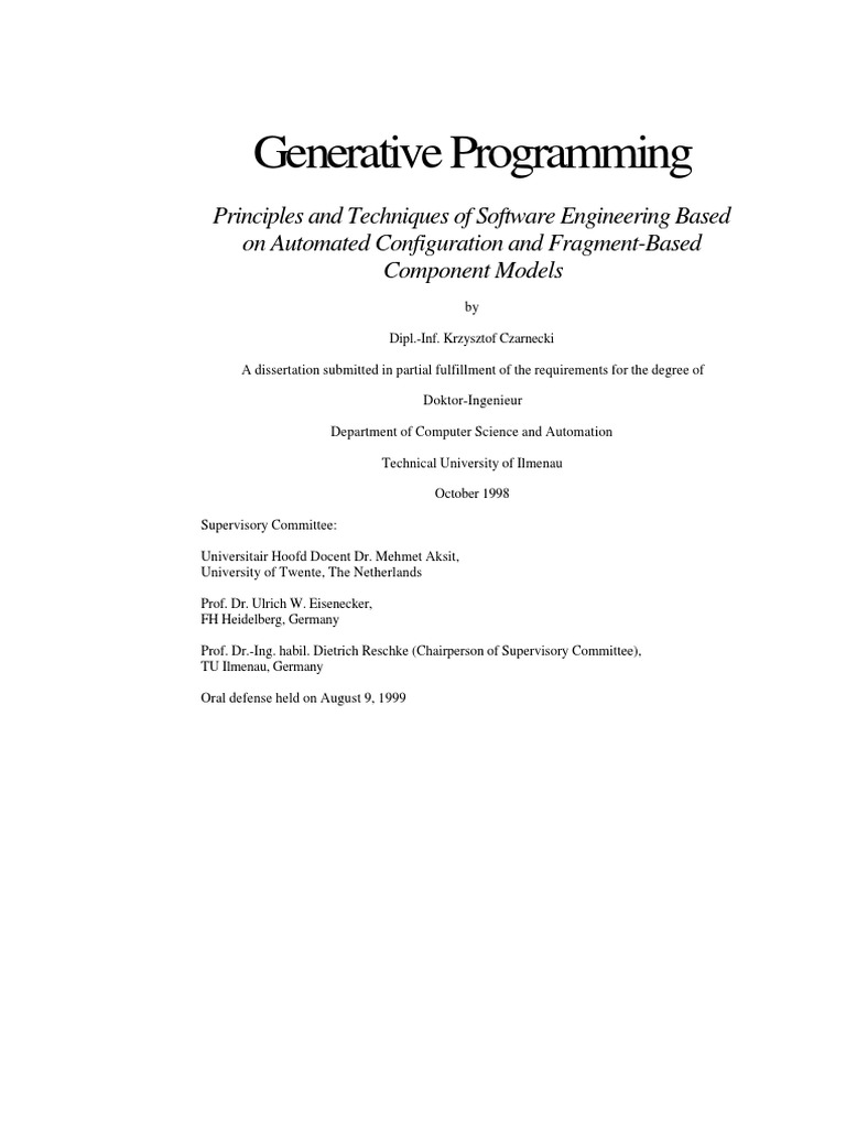 Generative Programming Principles And Techniques Of Software University Tennessee Departmental Template 2column 100 Width Engineering Based On Automated Copdf Matrix Mathematics Computer