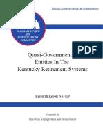 Kentucky Legislative Pension Report on Quasi Governmental Entities 2015