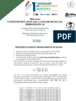 Climatologia Aplicada à Análise de Bacias Hidrográficas.