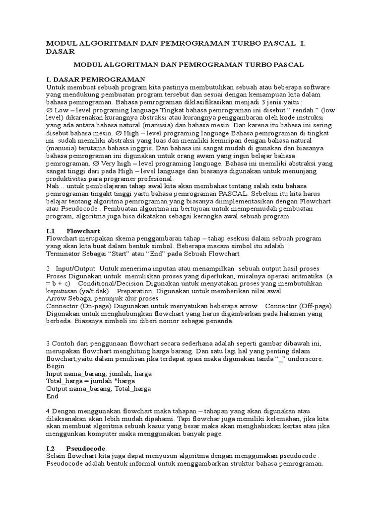 Modul Algoritman Dan Pemrograman Turbo Pascal I Dasar