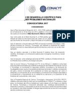 Convocatoria Problemas Nacionales 2017