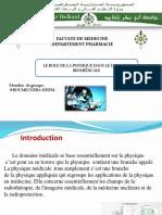 Le Role de La Physique Dans Le Domaine Biomedicale