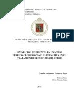 lixiviación y tratamiento sulfuros de cobre