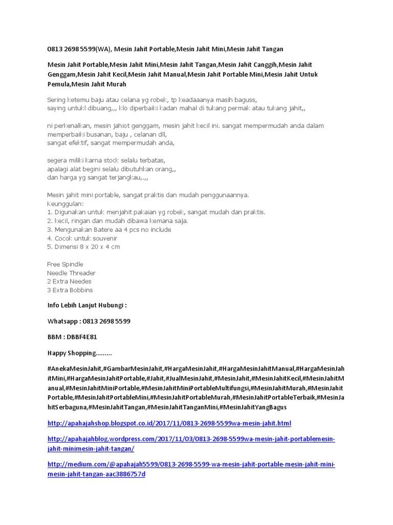 Mesin Jahit Tangan Mesin Jahit Murah Daftar Harga Produk Terbaru