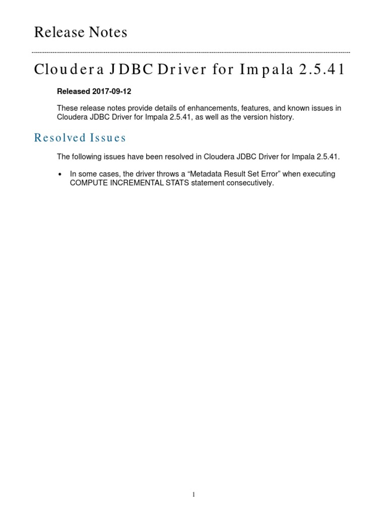 Cloudera JDBC Driver for Impala Release Notes | Data Management