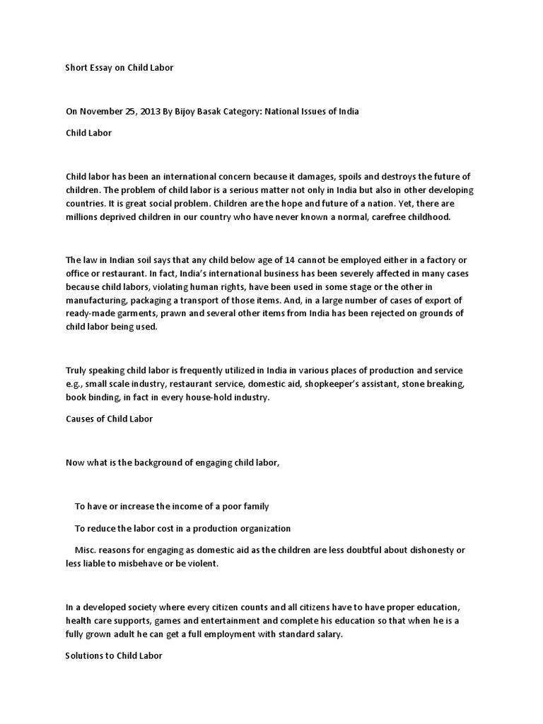 Short Essay On Child Labor  Child Labour  Labour Economics  Essay For High School Students also Grant Writer Business Plan  Essay About Paper