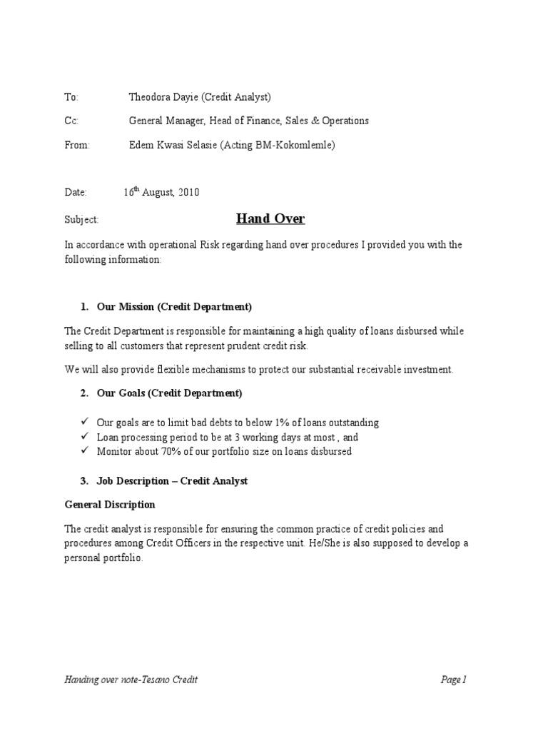 Sample Of Handing Over Note