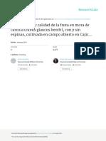 Rendimiento y calidad de la fruta en mora de Castilla (Rubus glaucus Benth), con y sin espinas, cultivada en campo abierto en Cajicá (Cundinamarca, Colombia)