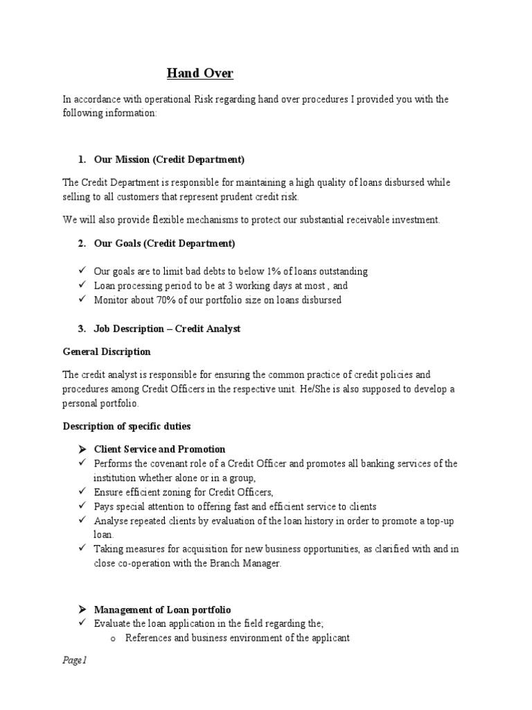 Sample of Handing Over Note – Handover Report Template