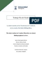 La Intervención en Los Trastornos de Conducta en La Escuela
