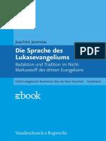 Jeremias Joachim - Die Sprache Des Lukasevangeliums (Vandenhoeck & Ruprecht 2011)