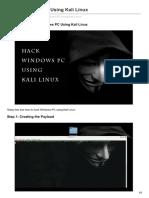 Hack Windows PC Using Kali Linux
