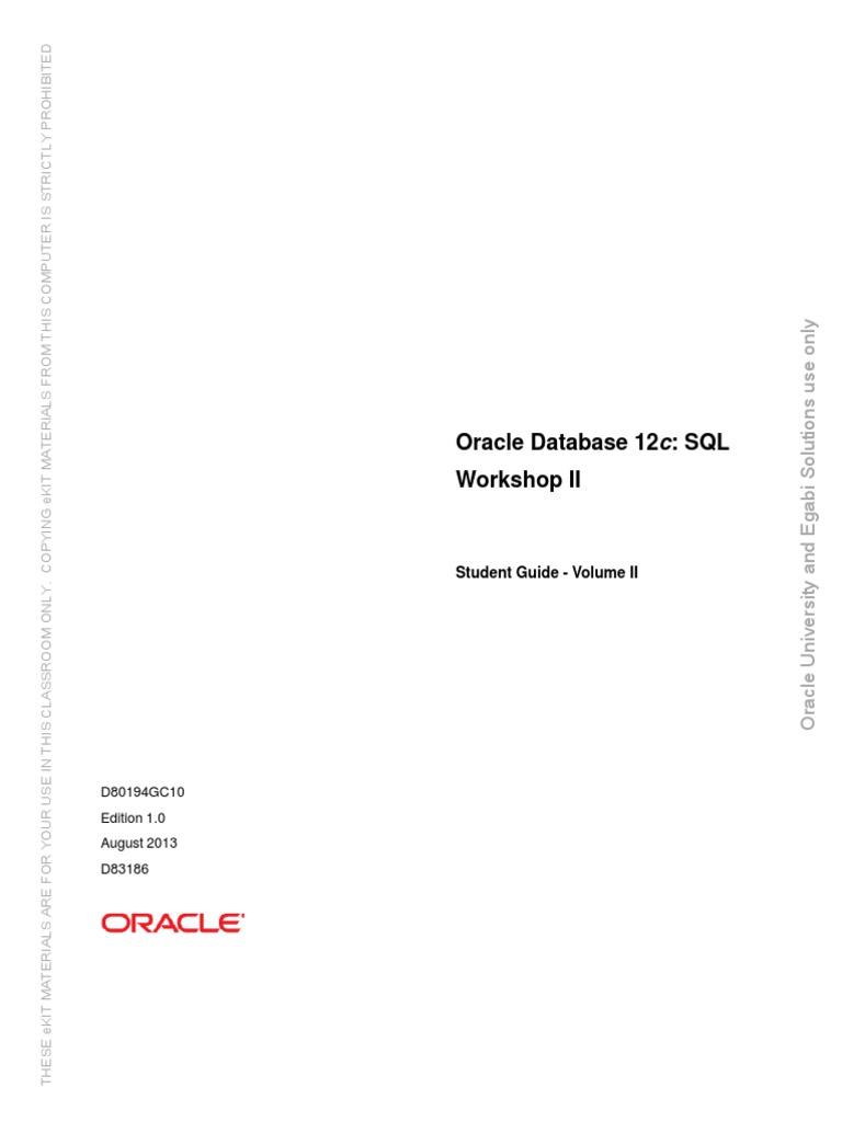 Oracle Database 12c Sql Workshop 2 Student Guide Volume 2 Pdf