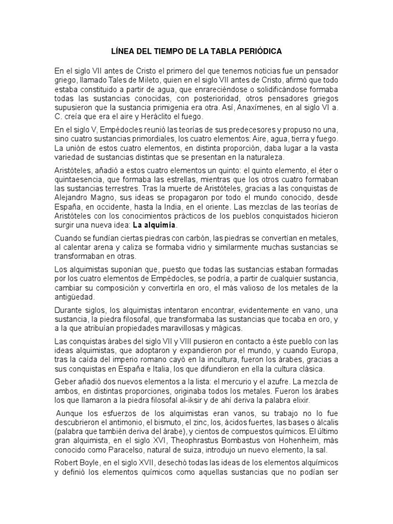 lnea del tiempo de la tabla peridica - Linea De Tiempo De La Tabla Periodica De Los Elementos Quimicos