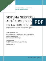 Sistema Nervioso Autónomo, Su Papel en La Homeostasia. Pacheco Salinas R. 2.1 (2017).