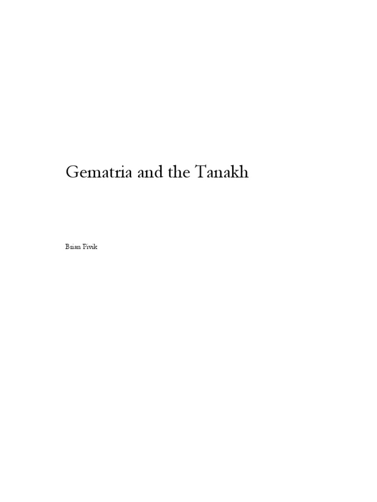 7e9993e7b0218 Gematria y Tanaj (KabbalaH)