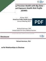 Revolutionizing Precision Health with Big Data - The Individual Exposure Health Risk Profile (IEHRP)