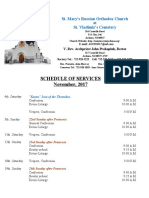 11. Schedule of Divine Services - November, 2017