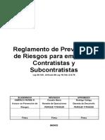 Reglamento de Prevencion de Riesgos Para Empresas Contratistas y Subcontratistas