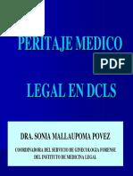 PERITAJE MEDICO LEGAL EN DCLS