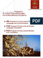 MA&PhD Programs in Cross-cultural Studies for International Students ucc