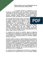 Problemas y Dilemas Éticos en La Investigación de La Explotación Sexual Comercial de Niñas y Niños