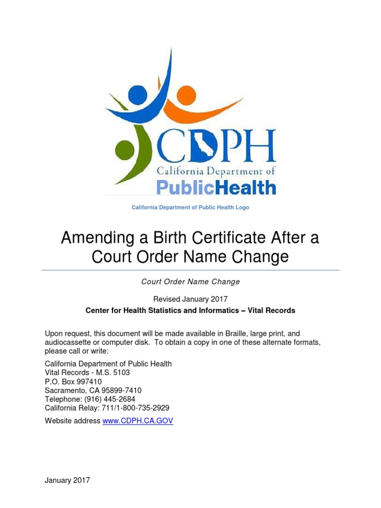 Chsi Court Order Name Change Pamphlet 8 2017 Birth Certificate