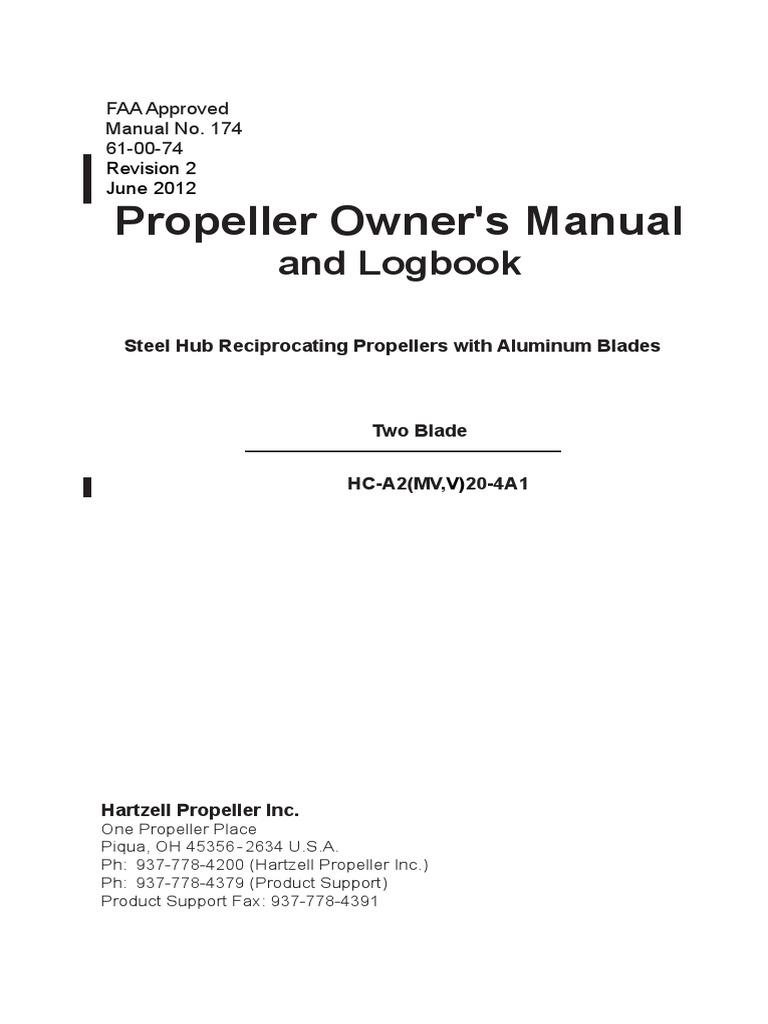 Propeller's Owner Manual and Logbook | Propeller | Mechanical Engineering