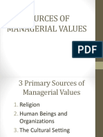 Sources of Managerial Values