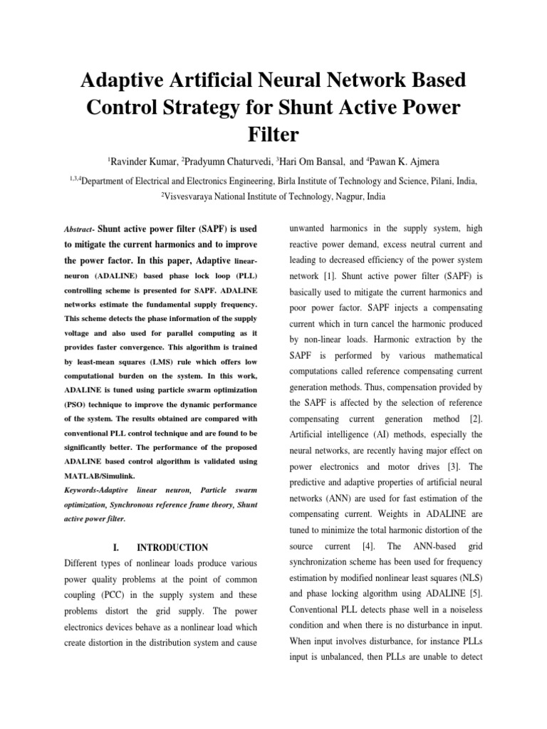 Adaptive Artificial Neural Network Based Control Strategy