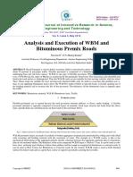 Analysis and Execution of WBM and Bituminous Premix Roads