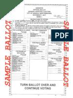 A sample ballot for Tuesday's election in Nashua