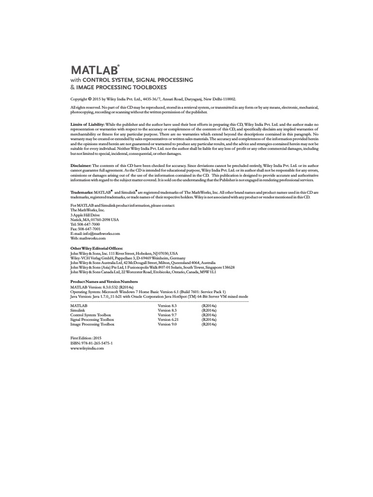 MATLAB With Control System, Signal Processing and Image