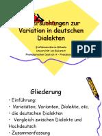 Untersuchungen Zur Variation in Deutschen Dialekten(8)