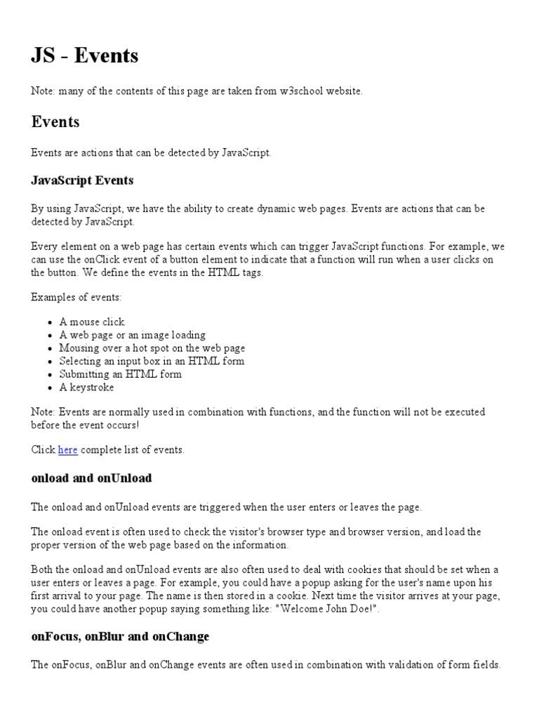 java script events