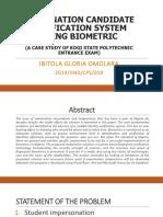 Examination Candidate Verification System Using Biometric