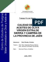 Ruiz Pineda, Cristina. Calidad de Los Aceites de Oliva Virgen Extra de Sierra y Campiña de La Provincia de Jaén