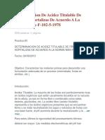 Determinacion de Acidez Titulable de Frutas Y Hortalizas de Acuerdo a La Norma Nmx