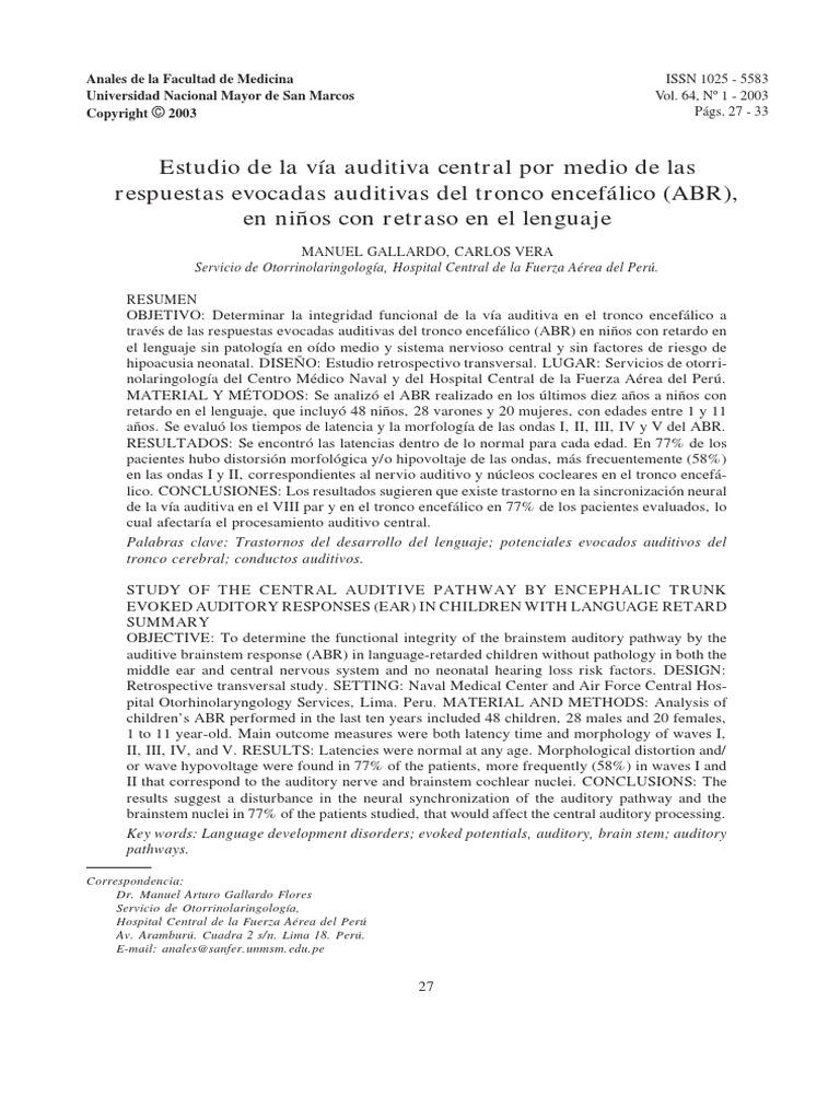 Estudio de La Vía Auditiva Central Por Medio de Las Respuestas ...