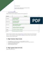 Basic Properties Metal Cutting Materials