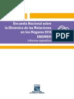 Encuesta Nacional Sobre La Dinámica de Las Relaciones en Los Hogares 2016. ENDIREH Informe Operativo