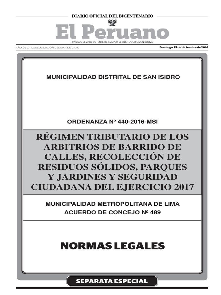 Arbitrios 2017 Ord N 440 2016 2 Municipalidad Distrital De San  # Venta Nocturna Muebles Placencia